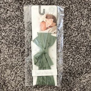 🆕Baby Bling sage green bow